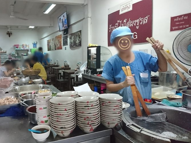 【Chicken Noodle Khaokrung】@サイアム調理風景画像