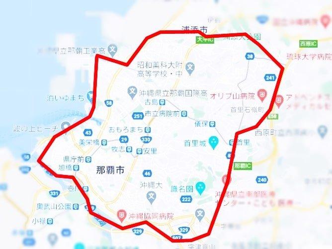 沖縄県のUber Eats (ウーバーイーツ)サービス対象エリア
