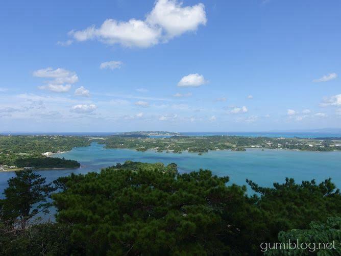 【嵐山展望台】沖縄の松島!青の緑のグラデーションが美しい@名護市