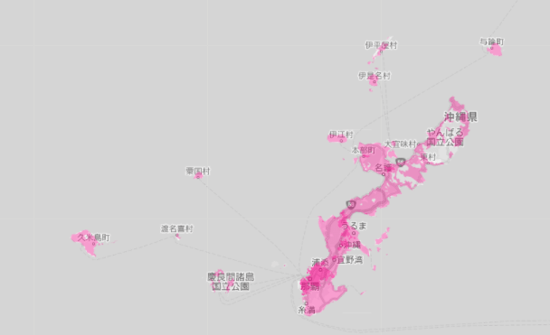 2021年6月1日現在楽天モバイルのエリアマップ(沖縄本島付近)