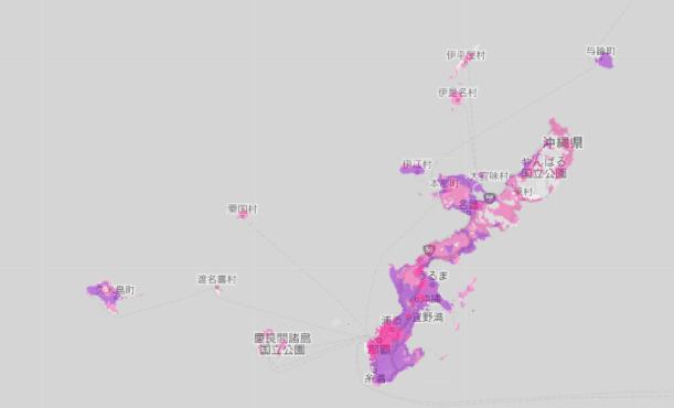 2021年秋以降の楽天回線4G拡大予定エリア(沖縄本島付近)