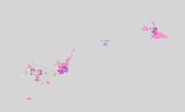2021年秋以降の楽天回線4G拡大予定エリア(石垣島・宮古島付近)