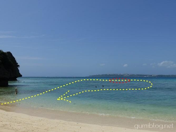 わたしの瀬底島のアンチ浜のシュノーケリングルートマップ