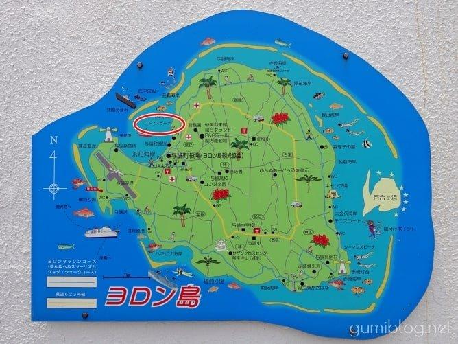 与論島のウドノスビーチの場所や行き方・駐車場について