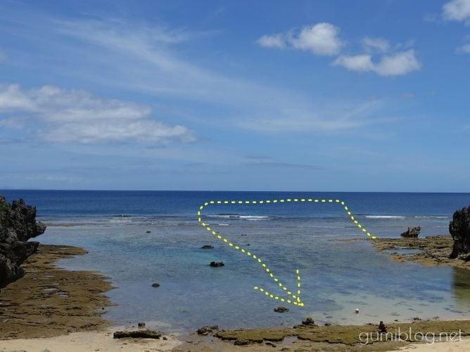 古宇利島のトケイ浜のシュノーケリングルートマップ